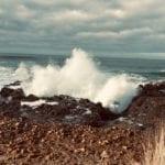 December 2018. Heavy waves batter the Pacific shoreline.
